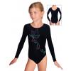 Gymnastický dres D37dg f54 černá lesklá plavkovina