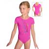 Gymnastický dres D37kkg f55 reflexně růžová lesklá plavkovina