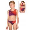 Dívčí sportovní plavky dvoudílné PD661 t110 vínovočervená