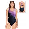 Dámské sportovní plavky jednodílné P623 t137 černofialová