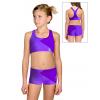 Sportovní top s kraťasy D663 tmavě fialová metalíza s fialovou