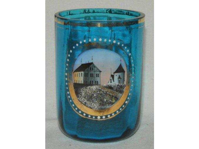 malovaná sklenička s ouškem Schneekoppe, Sněžka
