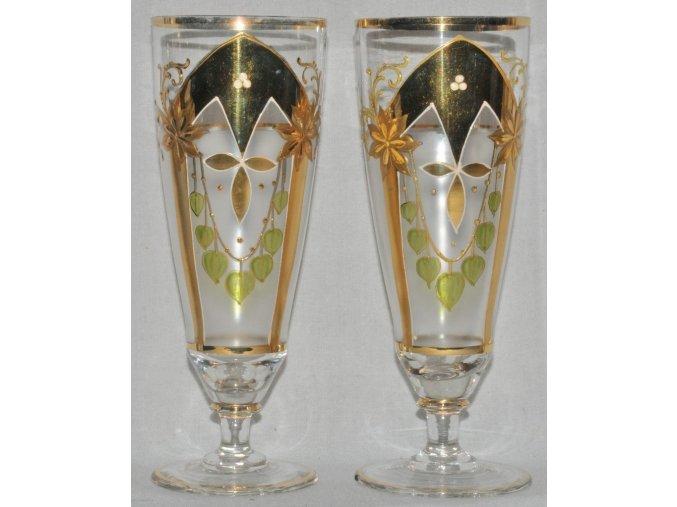 párové secesní sklenice malované zlatem a emaily