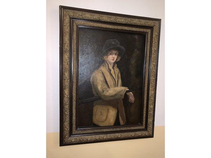 portrét mladé ženy lovkyně