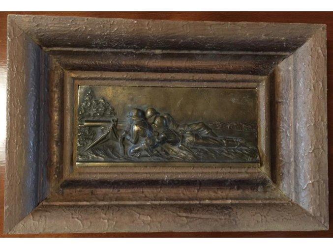 bronzová plaketa Vojáci