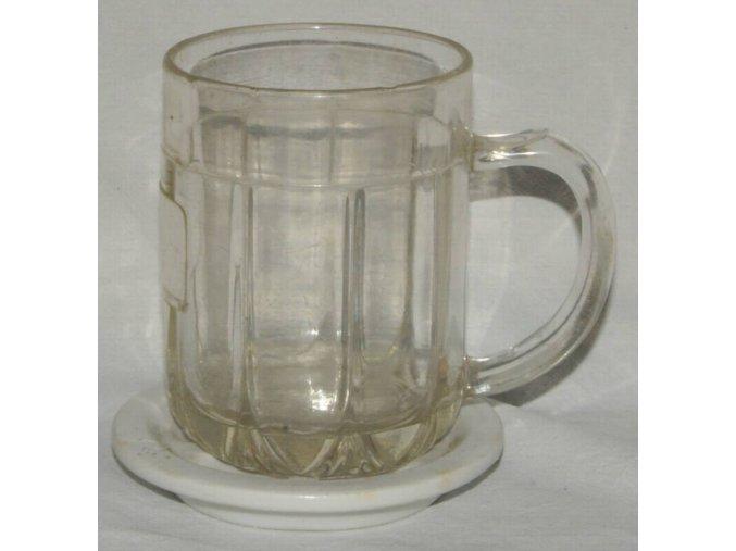 skleněný půllitr s porcelánovým podtáckem, 1. republika