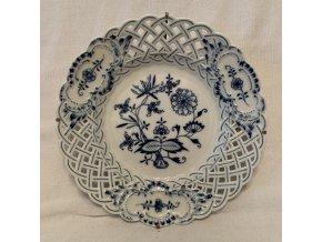 talířek s prostřihovaným dekorem Míšeň, Meissen, Zwiebelmuster