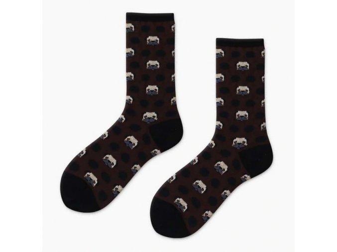 Ponožky s mopsí hlavinkou hnědé 1