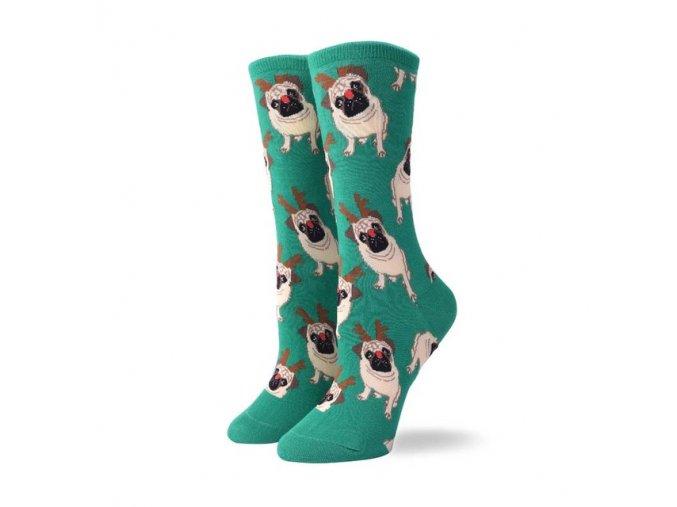 Ponožky s mopsoušem vánoční zelené