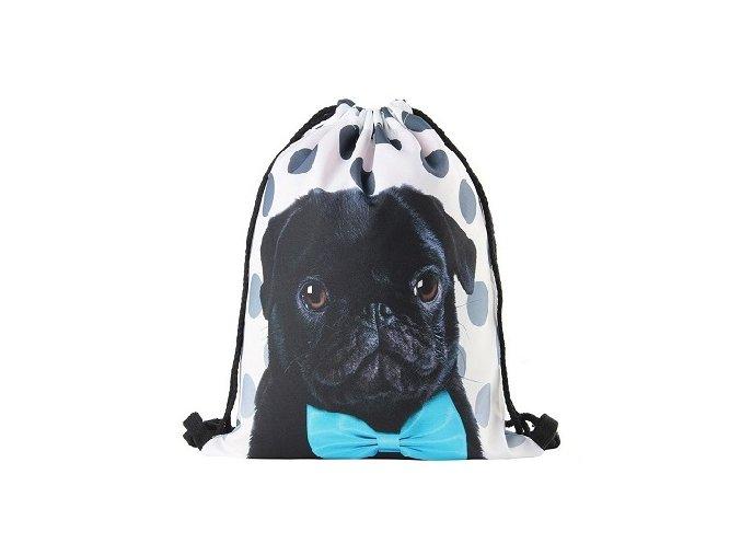 Drawstring bag mopsík černý gentleman