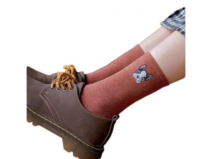 Ponožky s hlavinkou buldočka 1