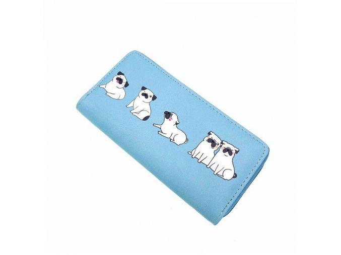 Peněženka mopsíci na blankytně modré 1