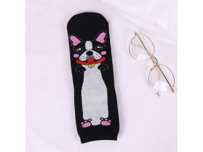 Ponožky buldoček na černé