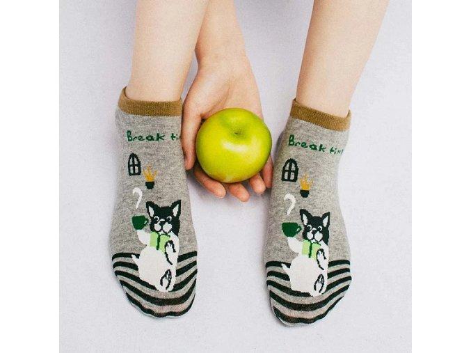 Ponožky s buldočkem čas na kafíčko