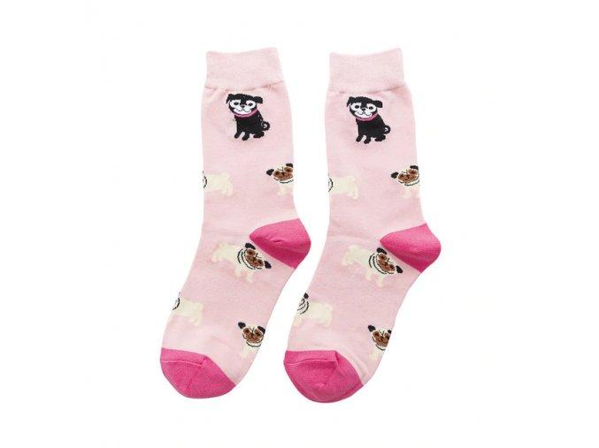 Ponožky mopsíci na růžové