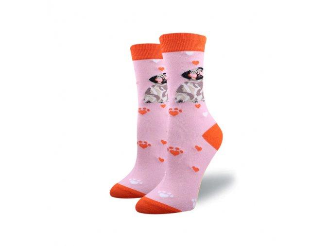 Ponožky mopsíček se srdíčky