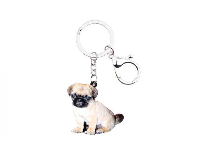 Klíčenka mopsík štěně sedící 1