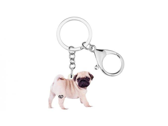 Klíčenka mopsík štěně stojící 1