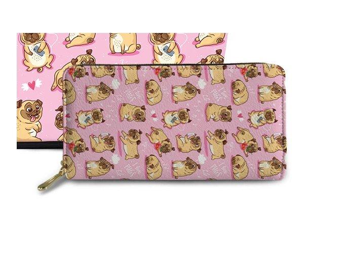 Pěněženka mopsík I LOVE PUGS růžová