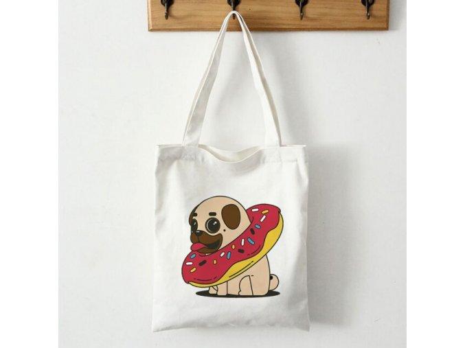 Plátěná taška mopsík s koblihou 1