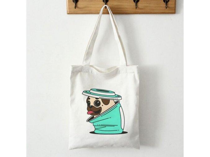 Plátěná taška mopsík v kelímku 1