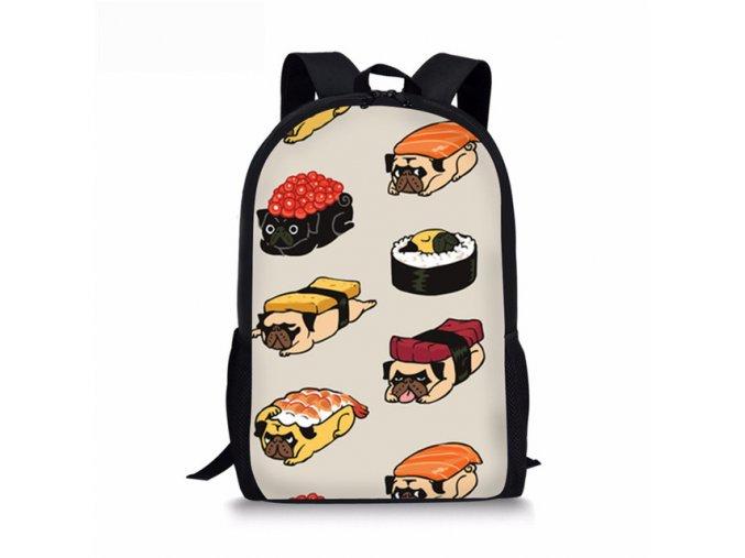Batůžek střední mops sushi