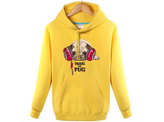 Mikina mops Doug The Pug teplá žlutá