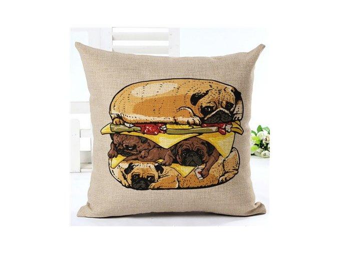 Potah na polštáře mopsí burger