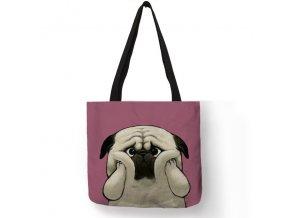 Plátěná taška mopsík buclík
