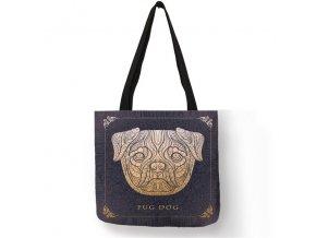 Plátěná taška mopsík ornament