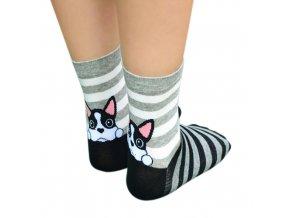 Ponožky s buldočkem pruhované 1
