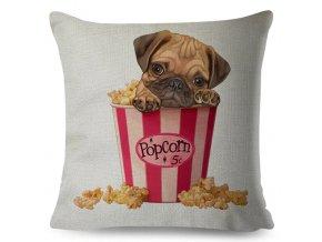 Potah na polštářek mopsík v popcornu