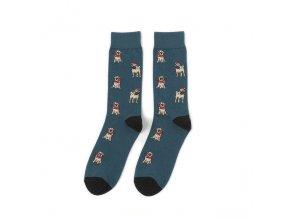 Ponožky s mopsíkem vánoční