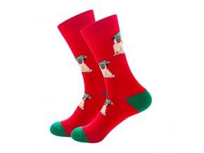 Ponožky s mopsíky vánoční