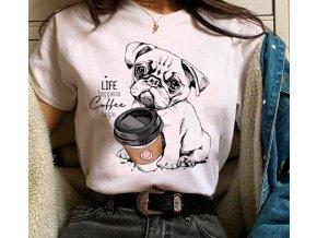Triko mopsík a kafe