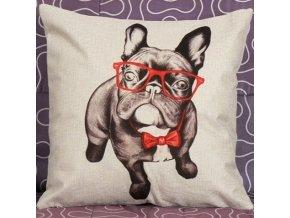 Potah na polštářek buldoček brýlky