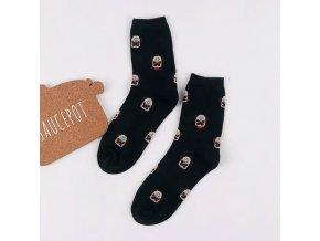 Ponožky s mopsí hlavinkou tmavě zelené 1