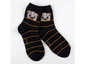 Ponožky s mopsíkem a proužky