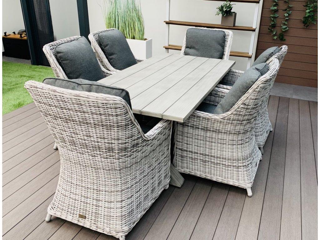záhradný ratanový nábytok boracay s hlinkovym stolom svetlosivy ratanea.sk