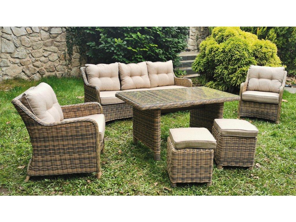 záhradný ratanový nábytok santiago žlto sivý ratanea.sk1