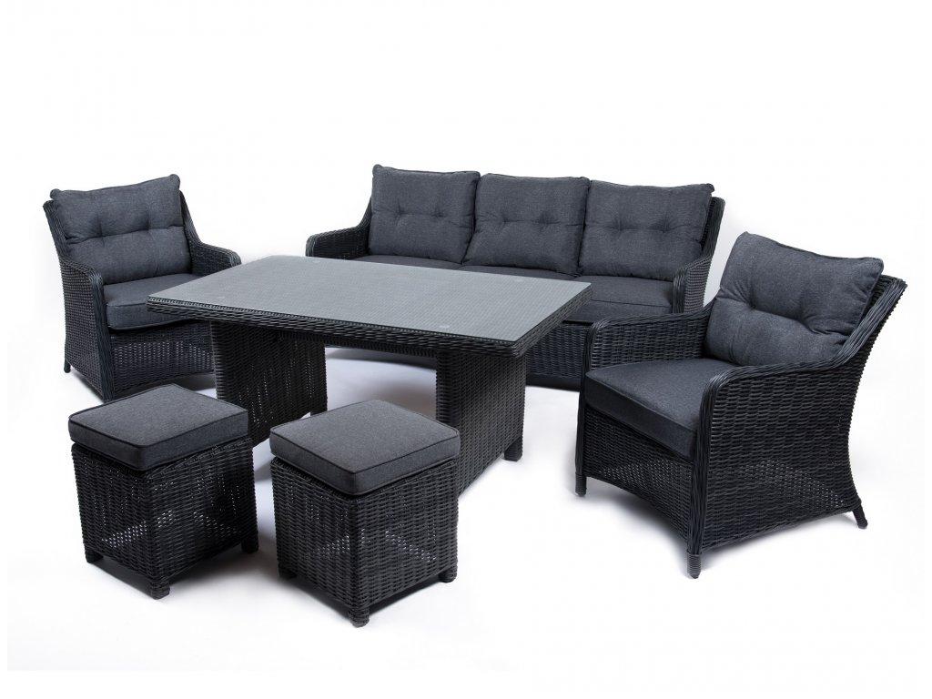 záhradný ratanový jedálenský nábytok santiago tmavosivý ratanea.sk