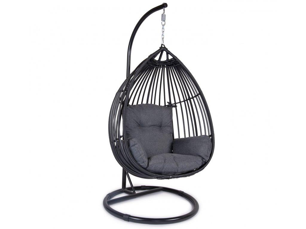 Hojdacie ratanové vajíčko - čierne