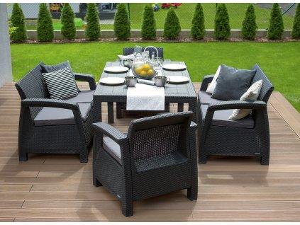 Jedálenský set 2+2+1+1 a jedálenský stôl  /4 farebné prevedenia