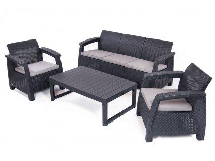 Set trojkreslo, dve kreslá so sedakmi a výškovo nastaviteľný stôl ratanea.sk