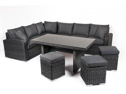 Záhradný nábytok pre 6 a viac osôb v najvyššej kvalite v tmavo sivom prevedení umelý ratan ratanea.sk