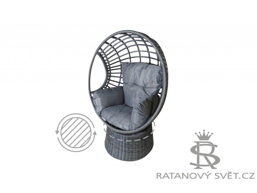 CINDY I - ratanové otočné křeslo - tmavě šedé