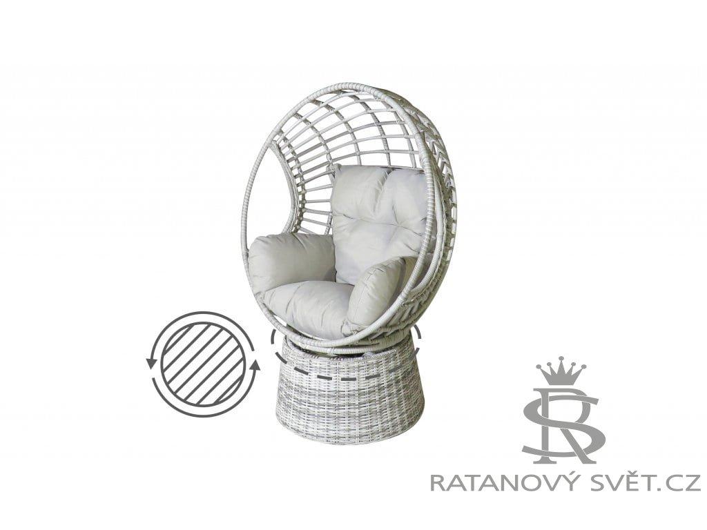 CINDY II - ratanové otočné křeslo - světle šedé