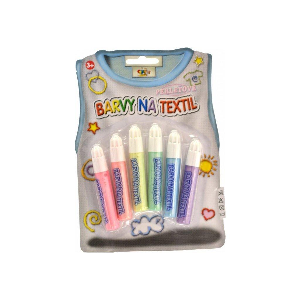 Sada třpytivých / perleťových barev na textil, 6ks
