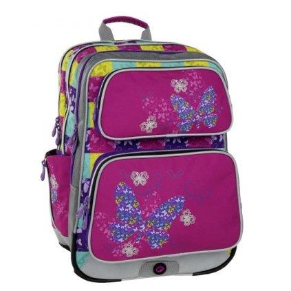 Dívčí školní batoh pro prvňáčky Bagmaster GALAXY 6 B PINK/BLUE/YELLOW