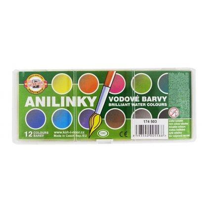 Vodové barvy Anilinky, 12 barev